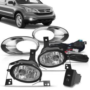Kit farol de Milha CR-V 2010 a 2011 com Molduras e Botão Modelo Original + Kit Lâmpada Ultra LED 6K H11