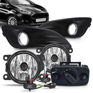 Kit farol de Milha Ford New Fiesta 2013 a 2016 com Molduras e Botão Modelo Original + Kit Lâmpada Ultra LED 6K H11