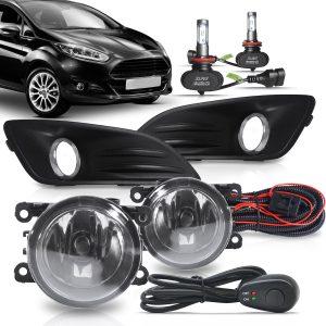 Kit farol de Milha Ford New Fiesta 2013 a 2016 com Molduras e Botão Modelo Alternativo + Kit Lâmpada Ultra LED 6K H11