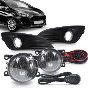 Kit farol de Milha Ford New Fiesta 2013 a 2016 com Molduras e Botão Modelo Alternativo