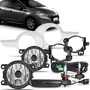 Kit farol de Milha Peugeot 208 2013 a 2016 com Molduras e Botão Modelo Original + Kit Lâmpada Ultra LED 6K H11