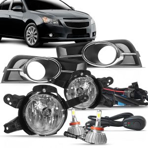 Kit farol de Milha Cruze Sedan 2009 a 2014 com Molduras e Botão Modelo Alternativo + Kit Lampada Led H11 6000k 6000 Lúmens