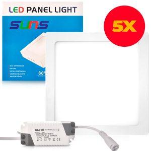 Kit 5 Painéis Plafon Led 18w Embutir Luminária Spot Led