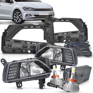 Kit farol de milha Polo 2018 2019 com led + super led