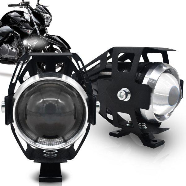 Par farol de milha universal para motos com interruptor e led 6k